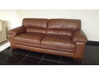 Brown leather 3 seater sofa + 2 chairs (119) £999