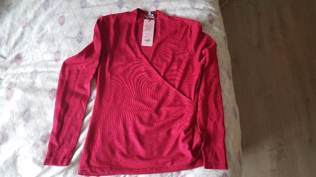 Phase Eight Wilma Wrap Knit Top Pink Size 12