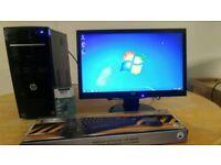 HP Business PC Desktop Computer & HP Pavillion Widescreen Monitor 20inch