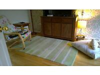 Laura Ashley 100% wool Rug. Green Beige Stripe. Excellent Condition