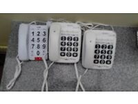 THREE wired BT telephones for the VISUALLY IMPAIRED AND HARD OF HEARING