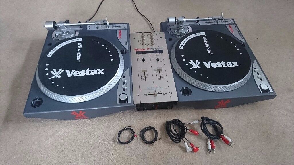 2 Vestax PDX-A1s Direct Drive Turntables & PMC-06 PRO Mixer (High Torque Scratch/Turntablism Decks)