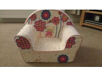 Lovely toddler fabric covered chair. Cover removable & machine washable