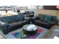 PRE OWNED Natuzzi 3 Seater Sofa + 2 Seater Sofa in Brown Leather