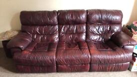 Oxford red/Butgundy 3 seater sofa with 2 recliners inbuilt