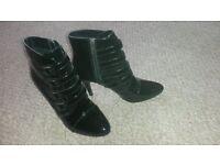 Black Patent Lotus Boots