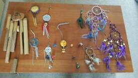 Selection of windchimes and dream catchers