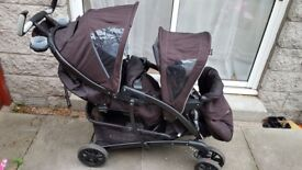 Graco Quattro Tour Duo Double Pushchair, Sport Luxe - with Rain Cover - Double Pushchair - Twin Pram
