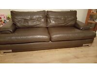 4 and 3 seater chocolate leather sofa in excellent condition- BARGAIN