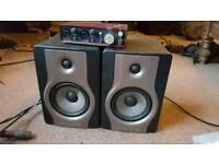 Focusrite 212. Mic. Stand. Pop shield. M audio Carbon BX5