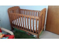 Maclaren solid wood cot bed with Mothercare Airflow Sprung Mattress