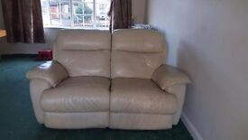 2x 2 seater cream leather recliner sofas for sale