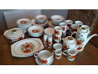 Retro Poppy design dinner set with serving dishes , coffee , tea pots and tea set