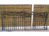 Driveway gates , with hinges , 45 ins width x 45 1/2 ins height (top of scroll),