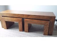 Heavy duty coffee/tv table with 2 matching nest tables, very sturdy and solid furniture