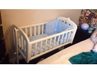 John Lewis swinging crib in white