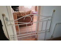 white steel double bed head