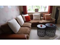 Corner sofa, good condition splits into sections with a D shape footstool. Very comfortable.
