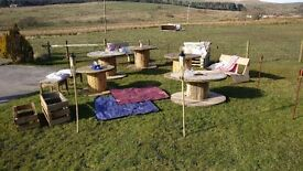 Complete Rustic Wedding Furniture, Garden Furniture, Outdoor Tables, Benches, Blankets, Cushions