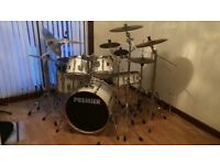 6 Piece Premier Drum Kit with 9 Cymbals & Double Bass Pedal