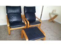 Ikea Poang Chairs & Footstool