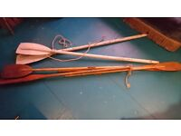 Vintage Decorative Wooden Oars, 3 Sets Brown and White
