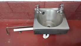 Stainless Steel Kitchen Hand Wash Sink, hot and cold taps, 38.5cm wide, 33cm depth