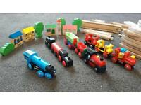 Wooden train set with some brio engines