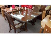 Dark Wood Table + 2 Chairs