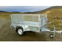 new 7 X 4 single axle trailer stamped mesh sides removable galvanised