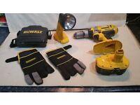 DeWALT 18volt Drill & Battery, 12volt Torch, Gloves & CD Case