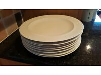 8 Denby White Dinner Plates 11.5 inch. Excellent condition as never used.
