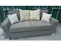 BRAND NEW Furniture Village Grey Fabric 3 Seater Sofa DELIVERY AVAILABLE