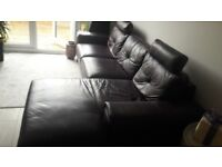 Leather purple corner sofa