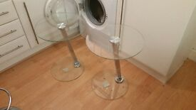 2 glass side tables
