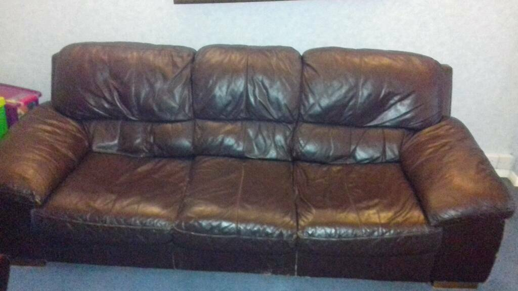 dfs 3 seater leather sofa dark brown very comfortable
