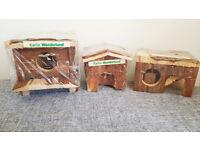 3 x Karlie Wonderland Hamster / Gerbil Cage Wood Nesting Accessories
