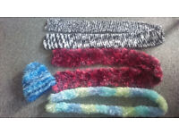 Knitted scarves & hat