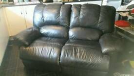 2x 2 seater black leather recliners