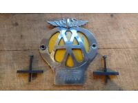 VINTAGE 1945-57 AA AUTOMOBILE ASSOCIATION CLASSIC CAR GRILLE BADGE + FIXINGS OA17720 FREE UK POST