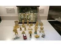 Miniature Clock Collection and glass cabinet