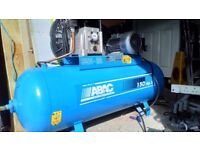 ABAC 150 Ltr single phase compressor, 2 air lines and connectors FOR SALE £300 and NO VAT TO ADD
