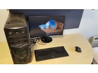 USED GAMING PC CUSTOM BUILD 4GB GRAPHICS 8GB RAM CURVED MONITOR WIRELESS KEYBOARD MOUSE