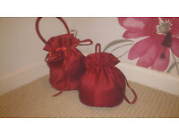2 x Claret Red Bridesmaid Flower Girl Dolly Bag