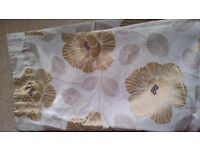 Cream and gold leaf pattern curtains