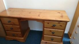 Pine Dressing Table /Desk with 6 Drawers