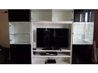 Black and white tv wall unit
