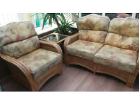 Free Rattan Conservatory Set, including Loveseat, Glass Top Table and Single Chair