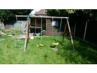 Wooden swing and ladder set