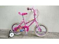 """FREE Bell with (2227) 14"""" 10"""" DISNEY PRINCESS Girls Bike Bicycle Age: 4-5 Height: 98-112 cm Pink"""